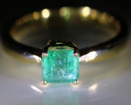 Panjshir Emerald 1.00ct Solid 18K Yellow Gold Ring