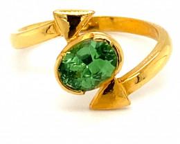 Tsavorite Garnet 1.25ct Solid 22K Yellow Gold Solitaire Ring