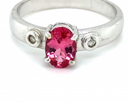 Red Mahenge Spinel 1.04ct Diamonds Solid 18K White Gold Multistone Ring
