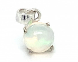 Precious Opal 1.20ct Platinum Finish Solid 925 Sterling Silver Pendant