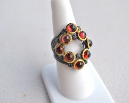 Fantastic Garnet Cabochon Ring in Sterling Silver -- Size 7