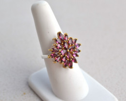 Fantastic Marquise Cut Rhodolite Garnet Ring in Sterling Silver -- Size 7
