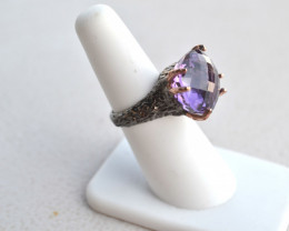 Gorgeous Oval Checkerborad Cut Amethyst in Sterling Silver Ring
