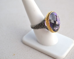Phenomenal Checkerboard Cut Amethyst in Sterling Silver Ring -- Size 7.5