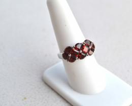 Fantastic Fancy Wedge Cut Garnets in Sterling Silver Ring -- Size 8