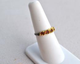 Fine Delicate Garnet Ring in Sterling Silver -- Size 6.75