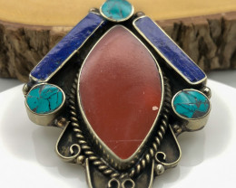 105 Crt  Turquoise and Lapis Lazuli Nepali Pendant with brass material