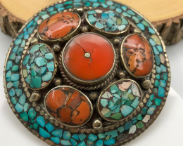 225 Crt  Turquoise Nepali Pendant with brass material