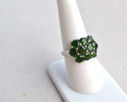 Fantastc Chrome Diopside in Sterling Silver Ring -- Size 7.75