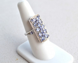 Gorgeous Tanzanite in Sterling Silver Ring -- Size 6.5