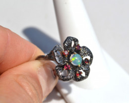 Beautiful Opal and Garnet in Sterling Silver Ring -- Size 8