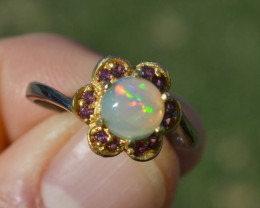 Fantastic Opal and Garnet in Sterling Silver Ring -- Size 8.75