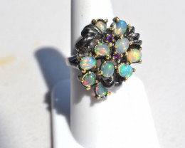 Gorgeous Opal Cluster in Sterling Silver Ring -- Size 7.5