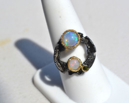 Opal in Sterling Silver Ring -- Size 8.5