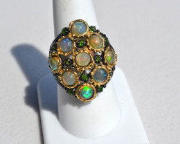 Gorgeous Opal and Chrome Diopside in Sterling Silver Ring -- Size 8.5