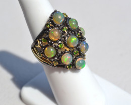 Gorgeous Opal and Chrome Diopside in Sterling Silver Ring -- Size 6.75