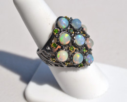 Gorgeous Opal and Chrome Diopside in Sterling Silver Ring -- Size 7.5