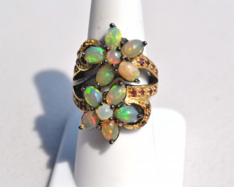 Opal and Garnet in Sterling Silver Ring -- Size 7.25