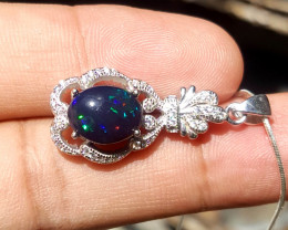 Gorgoues blue Opal and CZ Necklace.
