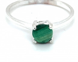 Malachite 1.52ct Platinum Finish Solid 925 Sterling Silver Ring