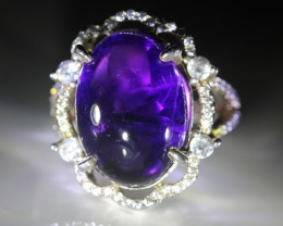 Amethyst 15.10ct Platinum Finish Solid 925 Sterling Silver Ring
