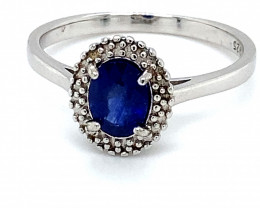 Blue Sapphire 1.05ct Platinum Finish Solid 925 Sterling Silver Solitaire Ri