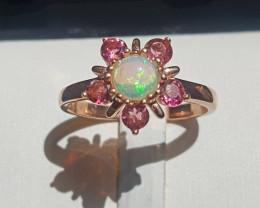 Natural Opal and Tourmaline Ring.