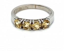 Citrine .60ct Platinum Finish Solid 925 Sterling Multistone Ring
