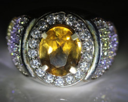 Citrine 1.90ct Platinum Finish Solid 925 Sterling Silver Ring