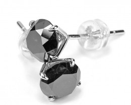 18k White Gold 0.79 Gram 3.81 Cts Black Diamond Earrings