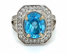 Blue Topaz 2.90ct Platinum Finish Solid 925 Sterling Silver Ring