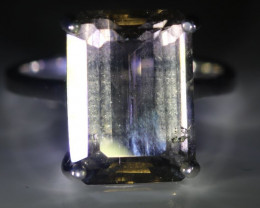 Tourmaline 6.80ct Platinum Finish Solid 925 Sterling Silver Ring