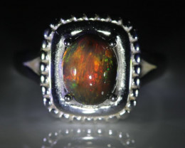 Opal 3.05ct Platinum Finish Solid 925 Sterling Silver Ring