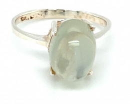Moonstone 6.70ct Platinum Finish Solid 925 Sterling Silver Ring