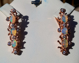 Natural Opal with CZ Earring.