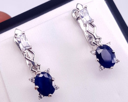 Gorgoues  Sapphire with CZ Earring.