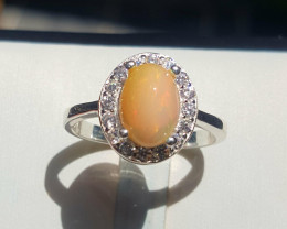 Natural Opal with CZ Ring.