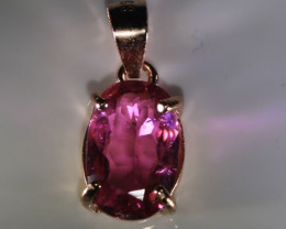 Rubellite 1.25ct Rose Gold Finish Solid 925 Sterling Silver Pendant