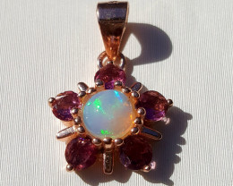 Natural Tourmaline  and Opal pendent.