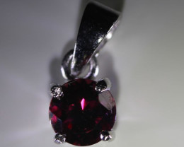 Rhodolite Garnet 1.12ct Platinum Finish Solid 925 Sterling Silver Pendant