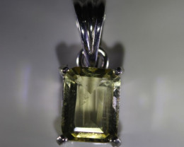 Lemon Quartz 1.72ct Platinum Finish Solid 925 Sterling Silver Pendant