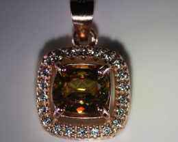 Sphene 1.10ct Rose Gold Finish Solid 925 Sterling Silver Pendant