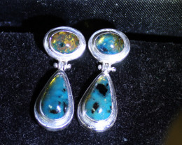 Dominican Natural Clear Sky Blue Amber .925 Sterling Silver Earrings 1.2inc
