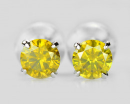 18k White Gold 0.53 Gram 0.49 Cts Yellow Diamond Earrings