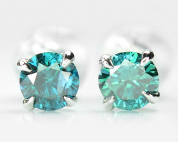 18k White Gold 0.52 Gram 0.52 Cts Blue Diamond Earrings