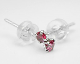 18k White Gold 0.40 Gram 0.20 Cts Pink Diamond Earrings