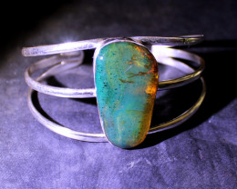 Dominican Natural Clear Deep Blue Green Amber .925 Sterling Silver Bangle 6