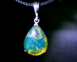 Premium Dominican Natural Clear Sky Blue Amber .925 Sterling Silver Pendant