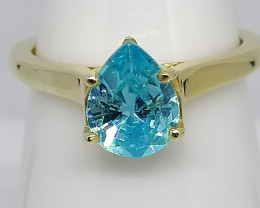 Natural Topaz Solitaire Ring 1.60ct. 14kt. Gold