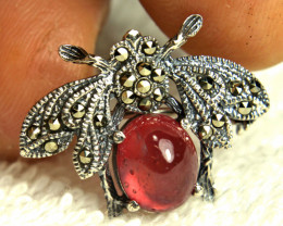 20.74 Total Carat Weight Brass, Sterling Silver Plated Ruby Brooch - Beauti